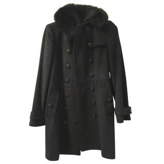 Burberry Wool/Cashmere/Fox Fur Coat