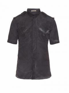 Bottega Veneta Runway Black Short-sleeved Faded Cotton Shirt