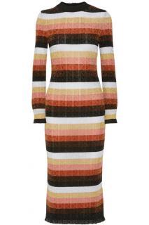 Fendi Striped Metallic Pre-Fall '17 Midi Dress