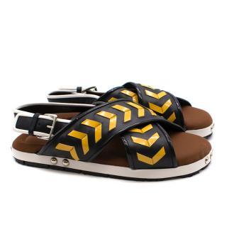 Marni Black and Yellow Criss Cross Sandals