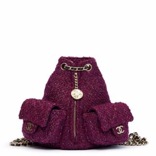 Chanel Aubergine Quilted Tweed Fabric Mini Backpack