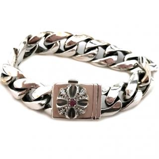 Chrome Hearts Cross Motif with Pave Diamonds and Ruby Bracelet