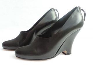 Miu Miu Black Lambskin Wedge Shoes