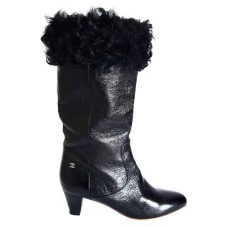 Chanel Moscou Paris Leather & Fur Boots