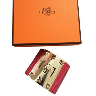 Hermes Rose Scheherazade Kelly Dog Cuff