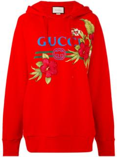 Gucci red embroidered hoodie top