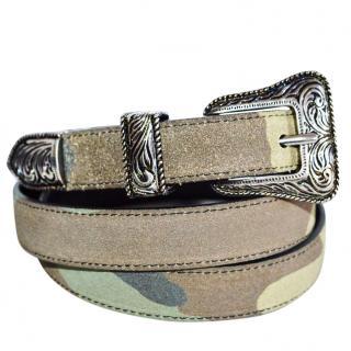 SAINT LAURENT CamouflageSude Belt with antique metal buckle