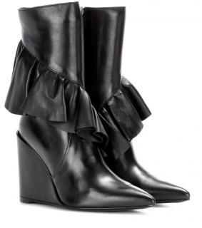 J W ANDERSON Black Mid Calf Ruffle Boots UK3/36 RRP �850