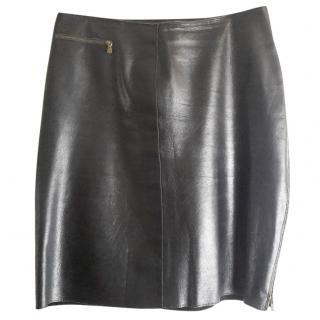 CALVIN KLEIN Black leather mini skirt