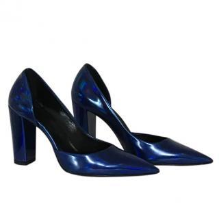Alexander McQueen Metallic Leather Block heel Pumps