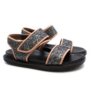 Marni Metallic Doubleband Glitter Sandals