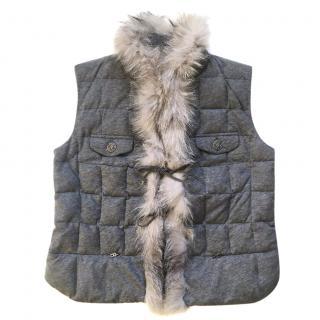 BOGNER Quilted Vest with Fox Fur Trim
