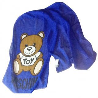 Moschino Blue Silk Blend Toy Bear Scarf