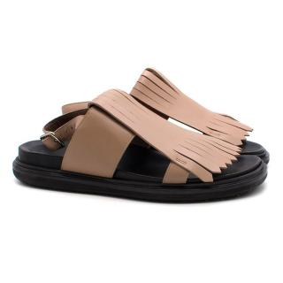Marni Fringe Leather Flat Sandals