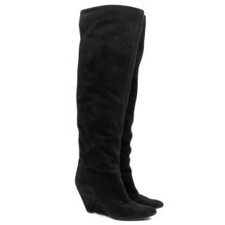 Giuseppe Zanotti Suede Knee-High Wedge Boots