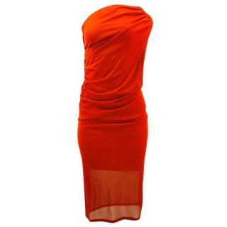 Alexander McQueen One-shoulder Red Silk Dress
