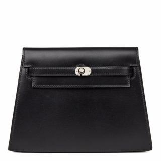 Hermes Black Box Calf Leather Kelly Danse Clutch