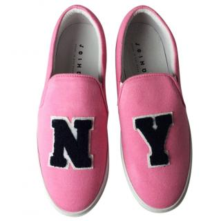 Joshua Sanders Pink NY Applique Slip-On Sneakers
