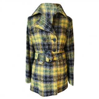 Trussardi Wool Angora Mix Tartan Coat