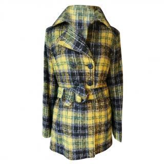 Trussardi Wool Angora Mix Tartan Coat