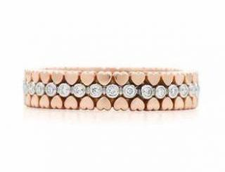 Tiffany & Co rose gold 18k diamond band ring