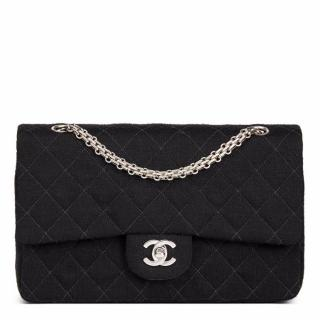 Chanel Quilted Jersey Fabric Vintage Medium Classic Double Flap