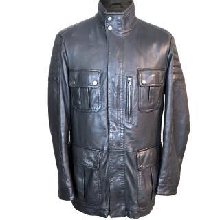Hugo Boss Nimo Brown Leather Biker Jacket