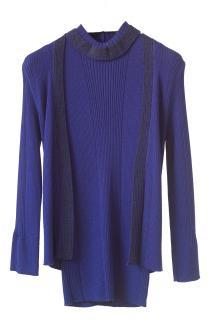 Paule Ka cobalt blue & lurex merino wool skinny rib twinset