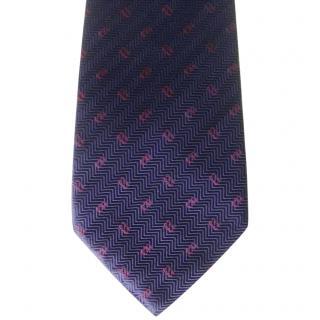 Christian Dior Navy Herringbone CD Logo Classic Silk Neck Tie