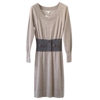 Paule Ka Taupe & Charcoal Grey Cashmere Dress