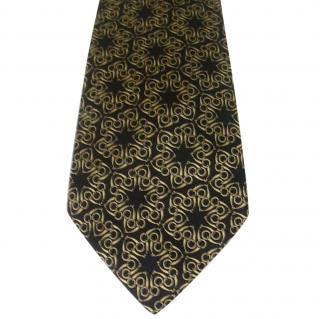 Hermes Black and Gold Interlocking Snaffle Bits Silk Neck Tie 7570 SA