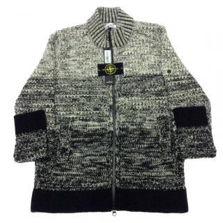 Stone island zipped knitted cardigan