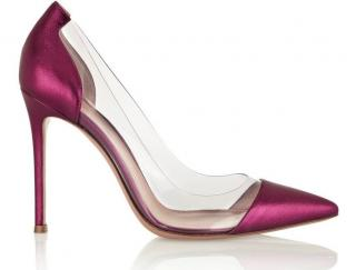 Gianvito Rossi pvc pink leather pumps 100