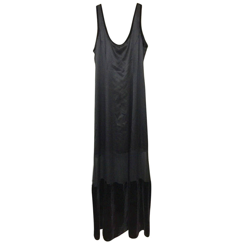Alberta Ferretti long black silk dress