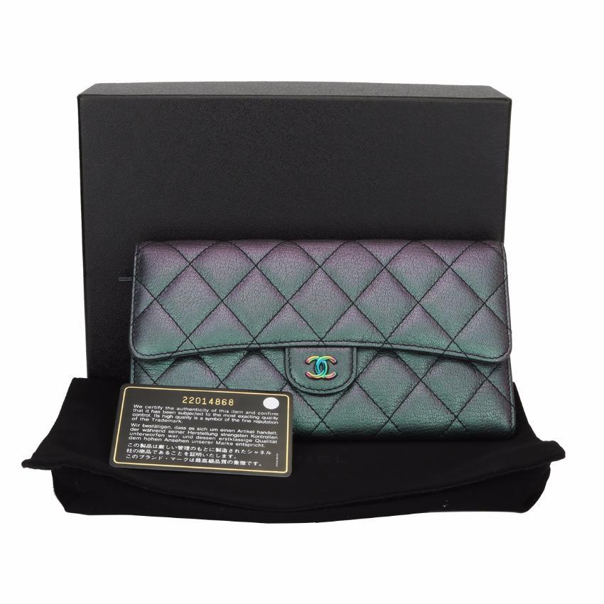 a269aa1e231 Chanel Purple Iridescent Goatskin Flap Wallet Rainbow Hardware Rare ...