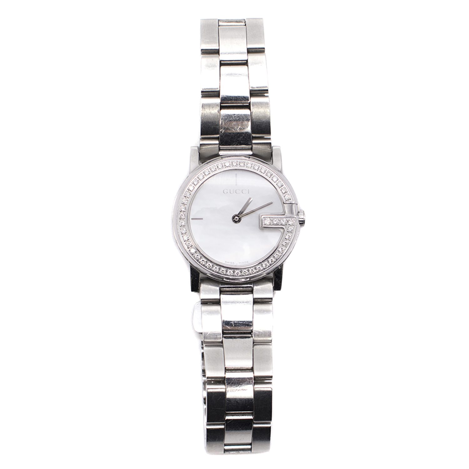 74a2a235fde Gucci Watch Stainless Steel Sapphire Crystal And Diamond Encrusted ...
