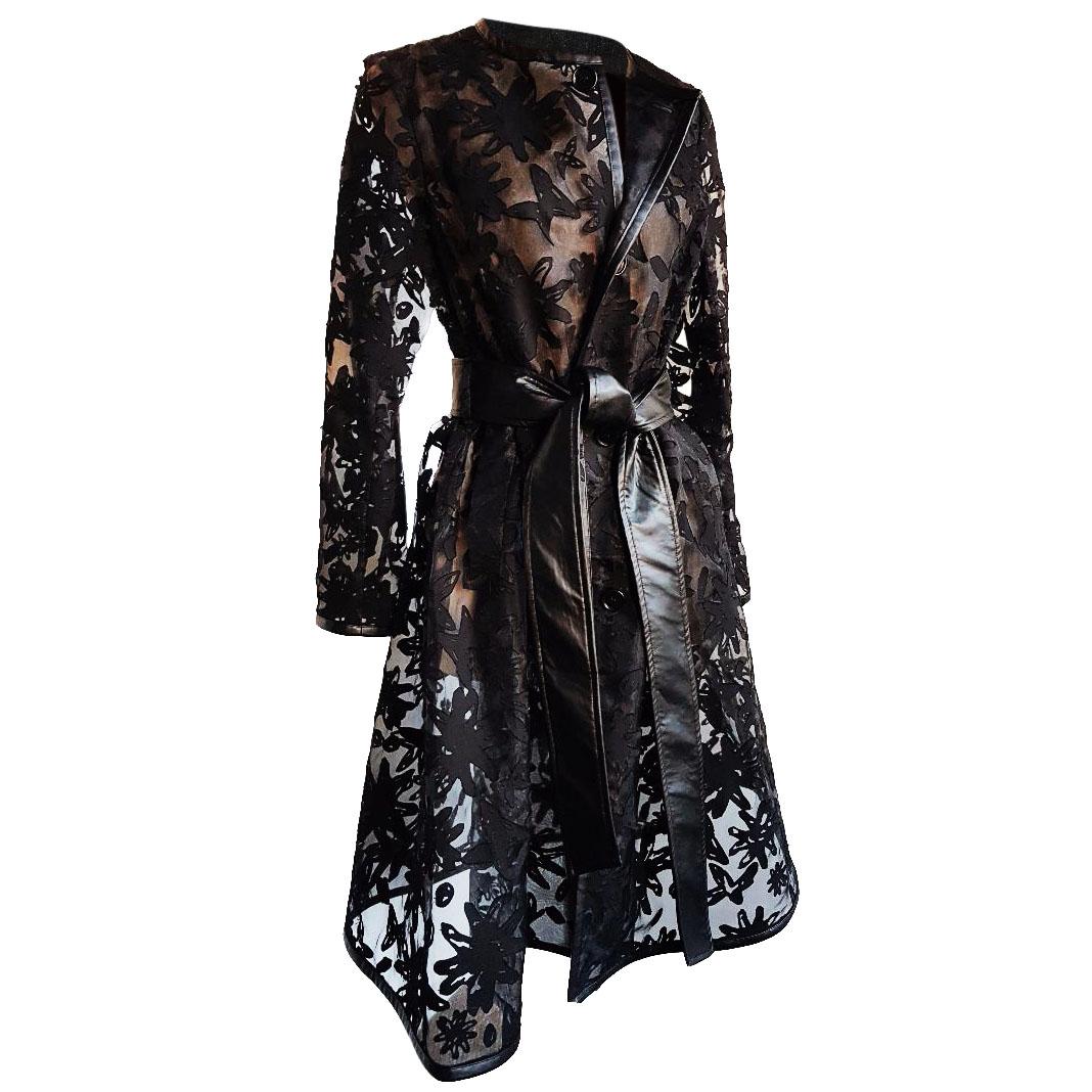 Noir Kei Ninomiya Comme des Garcons Sheer Black Coat