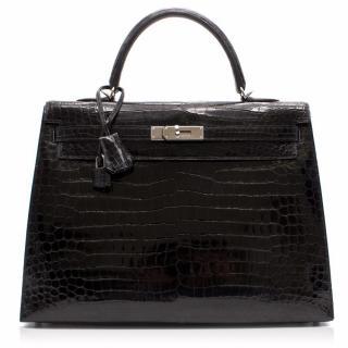 Hermes Black Crocodile Porosus 35CM Kelly Bag With Cites
