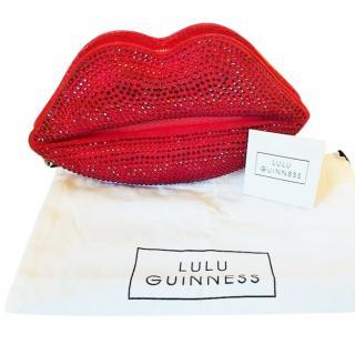 Lulu Guinness Snakeskin & Swarovski Crystal Clutch Bag