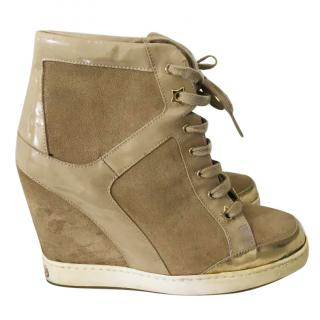Jimmy Choo Panama Beige Wedge Sneakers