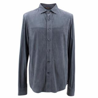 Loro Piana Unisex Blue Very Fine Suede Shirt