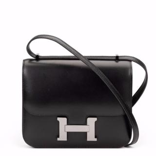 Hermes Black Box Calf Leather Constance