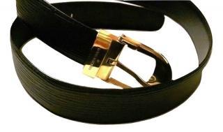 Louis Vuitton Black Unisex Belt With Gold Tone Hardware Size 44