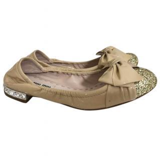 Miu Miu Glitter Cap Toe Ballet Flats
