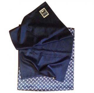 Zilli blue silk/cashmere scarf