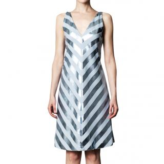 Jonathan Saunders Nicola Foil-Stripe Bias Dress