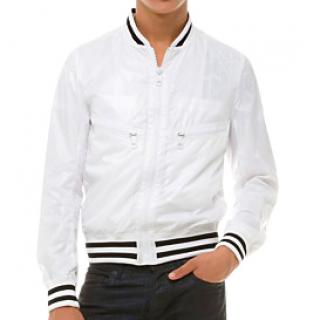 Dior White nylon zip Bomber Jacket