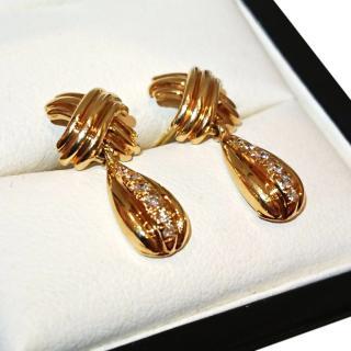 Vintage Tiffany & Co Diamond Cross earrings 18ct Gold