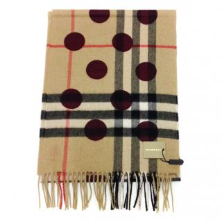 Burberry plum dot reversible cashmere scarf