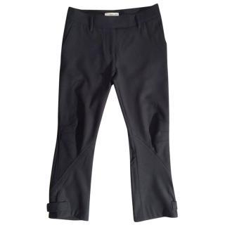 PRADA virgin wool & elastane stretchy panelled black trousers